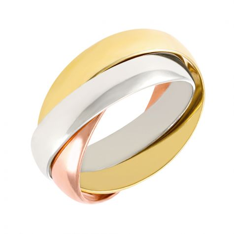 9ct Yellow, White & Rose Gold Russian Wedding Band Ring - 4mm