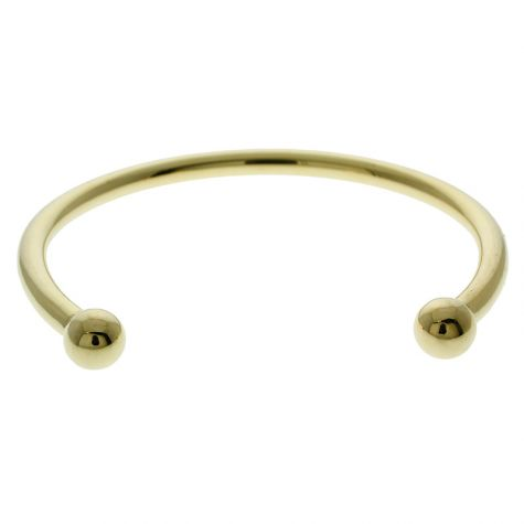 "Gent's Solid 9ct Yellow Gold Classic Torque Bangle 8"" - 8mm Balls"