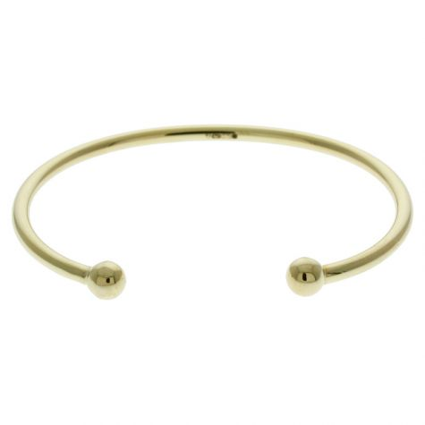 "Solid 9 ct Yellow Gold Children's Torque Bangle 5.5"" - 5mm Balls"