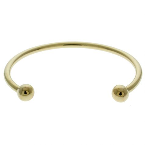 "9 ct Yellow Gold Solid Men's Size Torque Bangle 7.5"" -  8mm Balls"