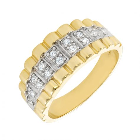 9ct Gold Rolex Ring with CZ gemstone Setting - Gents