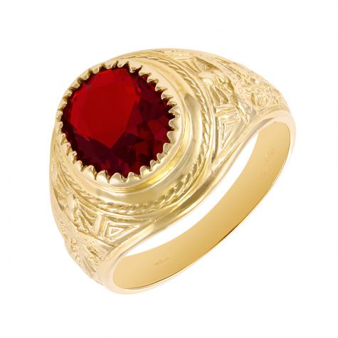 9ct Gold Red Gemstone Graduation / College Ring - 18.5mm - Gents