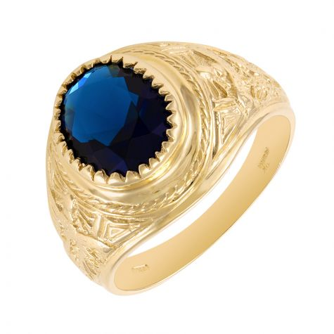 9ct Gold Blue Gemstone Graduation / College Ring - 18.5mm - Gents