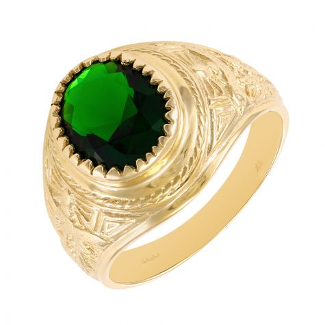 9ct Yellow Gold Green Gemstone Graduation / College Ring - Gents