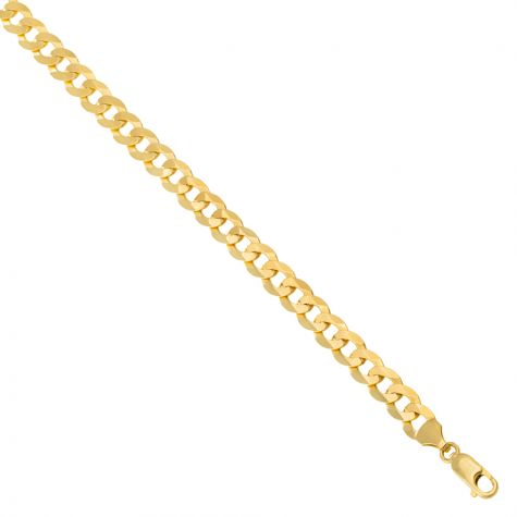 """SOLID - 9ct Gold Italian Bevelled Edge Curb Chain - 7mm - 18"""""""
