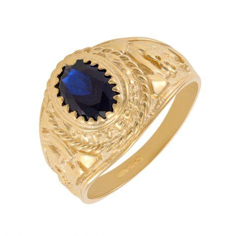9ct Yellow Gold Blue Gemstone Graduation / College Ring - Childs