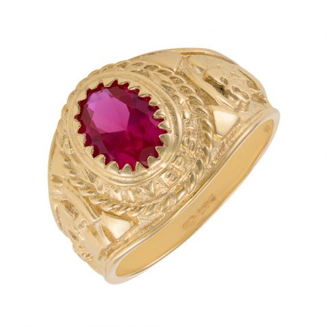 9ct Yellow Gold Red Gemstone Graduation / College Ring - Childs