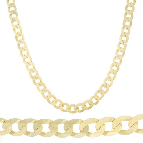"""SOLID 9ct Yellow Gold Italian Bevelled Edge Curb Chain 26""""- 10mm"""