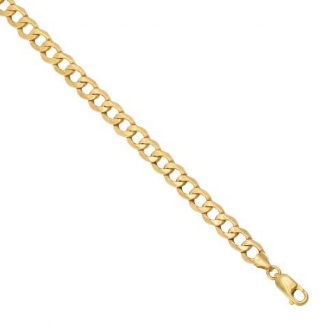 """SEMI SOLID - 9ct Yellow Gold Italian Made Curb Chain - 7 mm - 20"""" - 30"""""""