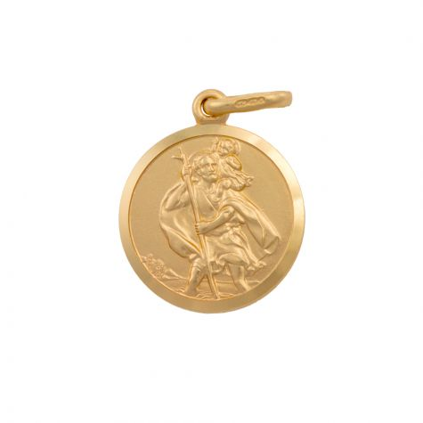 9ct Yellow Gold Single-Sided Round St. Christopher Pendant - 22mm