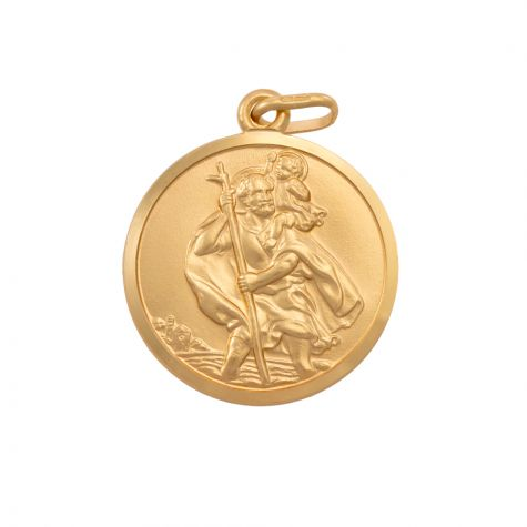 9ct Yellow Gold Single-Sided Round St. Christopher Pendant - 29mm