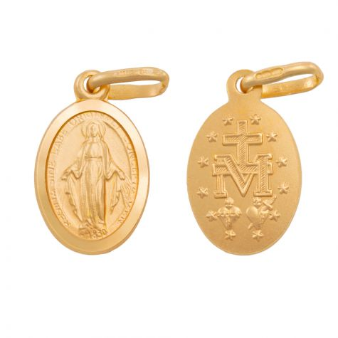 9ct Yellow Gold Miraculous Medallion Madonna Pendant - 20mm