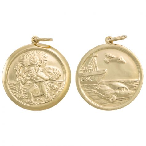 9ct Yellow Gold Double-Sided Round St. Christopher Pendant - 34mm