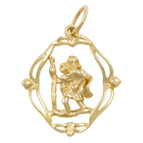 9ct Yellow Gold Fancy Cut-out 3D St. Christopher Pendant - 31mm