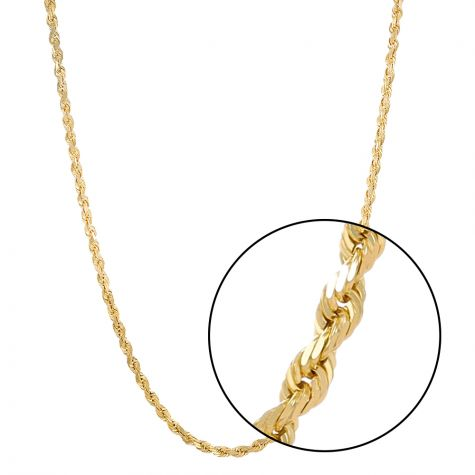 "9ct Yellow Gold Italian Diamond Cut Solid Rope Chain - 24"" - 4mm"