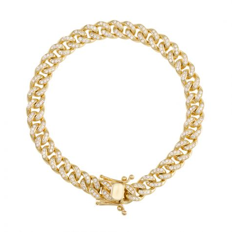 "9ct Gold Gem - Set Miami Cuban Link Bracelet - 8mm - 8.5"" - Gents"