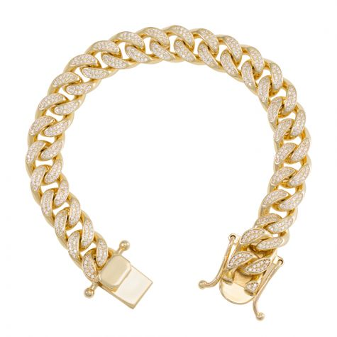 "9ct Yellow Gold Gem-Set Cuban Link Bracelet - 12mm  - 8.25""  Mens"