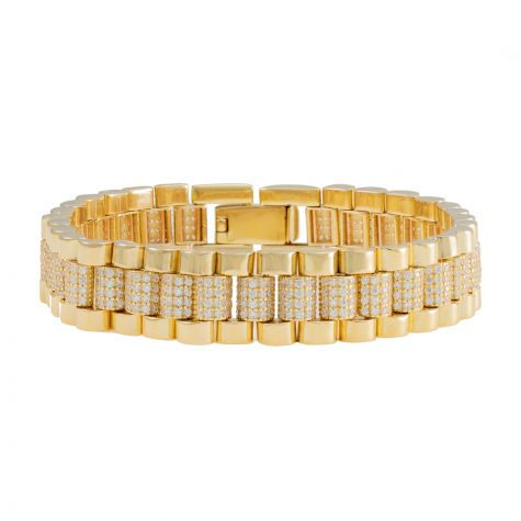 "Rolex Style 9ct Gold Gem Set Presidential Bracelet - 8 "" - Mens"