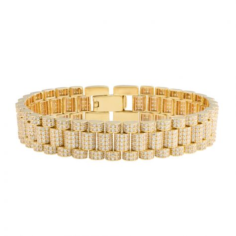 "Rolex Style 9ct Gold Iced Out Presidential Bracelet - 7.5"" - Mens"