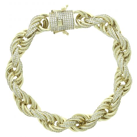 9ct Yellow Gold Gem-Set Rope Bracelet- 11mm - 9  inches