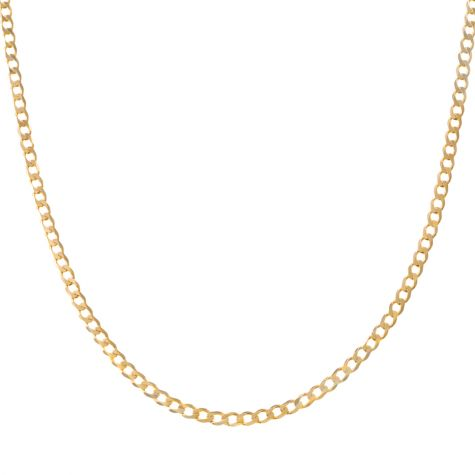 """SOLID - 9ct Gold Italian Bevelled Edge Curb Chain - 2.3mm - 22"""""""