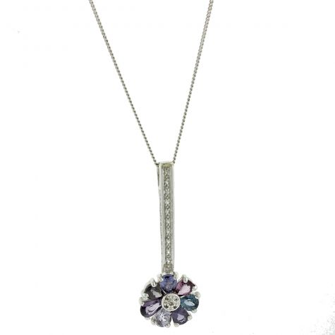 UK Hallmarked 9ct Gold Quartz Gemstone Set Necklace 16""