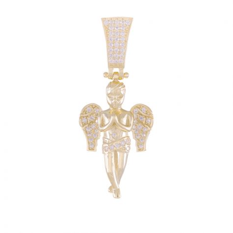 9ct Yellow Gold Cubic Zirconia Iced Out 3D Cherub / Angel Pendant
