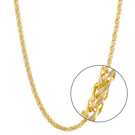 "9ct Yellow Gold Italian Made Spiga / Wheat Chain - 22"" - 3mm"
