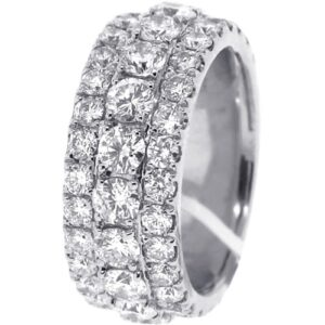3 Row Iced Out Platinum Ring Young Adz - Hatton Jewellers