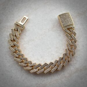 Iced Out Rose Gold Straight Edge Miami Cuban Link Bracelet Headie One - Hatton Jewellers