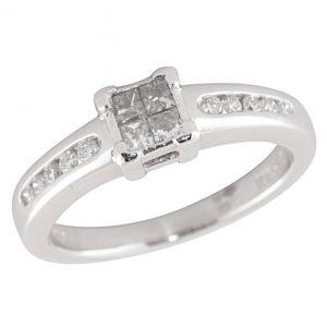 Pre-Owned Platinum 0.25ct Diamond Cluster Engagement Ring