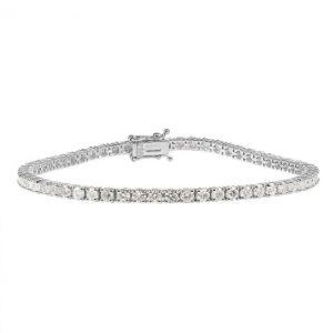 18ct White Gold 4.29ct Diamond Tennis Bracelet Unisex