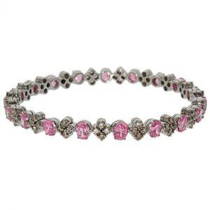WGI Certified 18ct Gold 3.80ct Diamond & Pink Gemstone Bangle