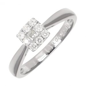 Pre-Owned 18ct White Gold 0.25ct Diamond Cluster Engagement Ring