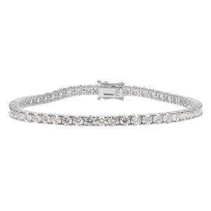 18ct White Gold 6.69ct Diamond Tennis Bracelet - Unisex