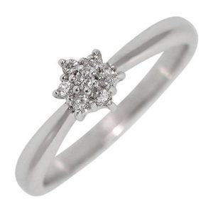 Pre-Owned 14ct White Gold Diamond Daisy Cluster Ring