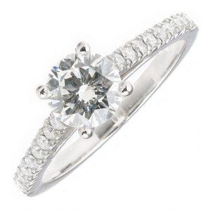 GIA Certified Platinum 1.36ct Diamond Engagement Ring