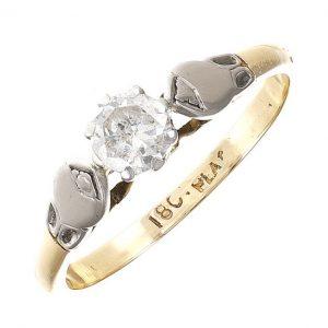 Vintage Circa 1960's 18ct Gold 0.40ct Diamond Engagement Ring