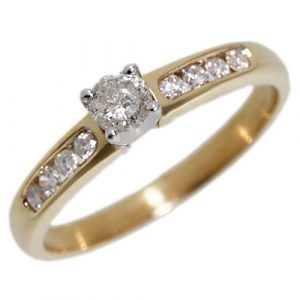 9ct Yellow Gold 0.33ct Diamond Classic Shoulder Set Engagement Ring