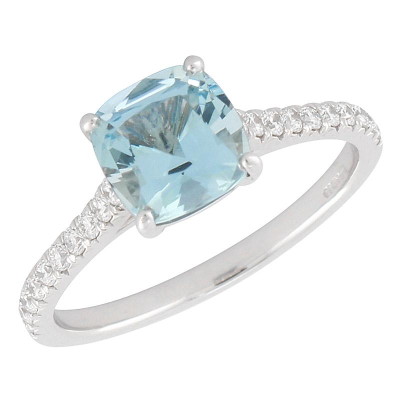 Tiffany & Co Platinum Aquamarine & .17ct Diamond